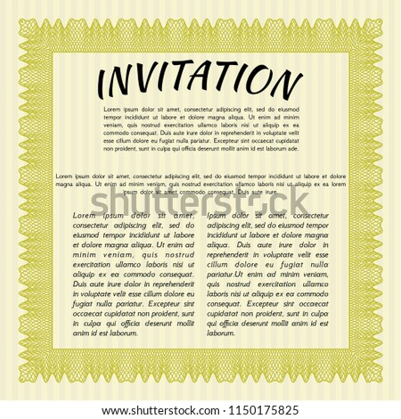 Yellow Formal Invitation Background Customizable Easy Stock Vector