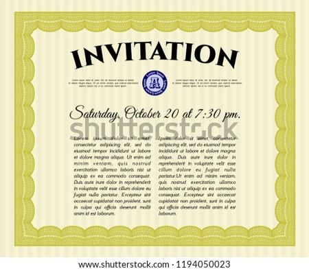 Yellow Formal Invitation Background Detailed Sophisticated Stock