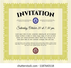 Yellow Formal invitation. Printer friendly. Customizable, Easy to edit and change colors. Cordial design.