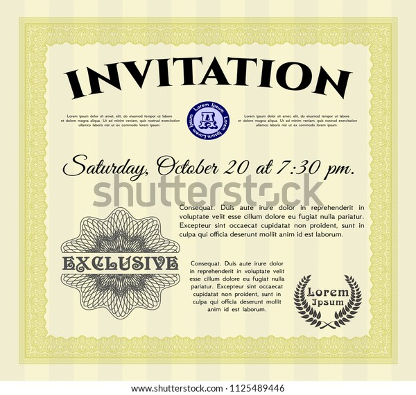 Yellow Formal invitation template. With complex linear background. Cordial design. Vector illustration.