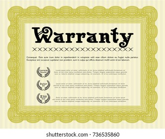 Yellow Formal Warranty Certificate template. Detailed. With complex background. Artistry design.