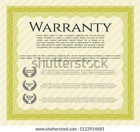 Yellow Formal Warranty Certificate Template Modern Stock Vector