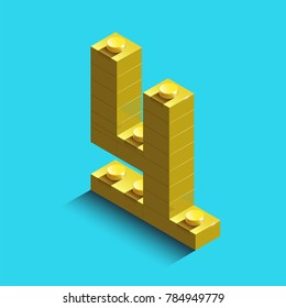 yellow four three from constructor lego bricks on blue background. 3d lego number four