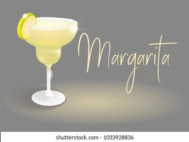 Yellow frozen alcoholic cocktail drink fresh Margarita in good glass. It's best made with tequila, fresh lime juice, and agave syrup. Modern vector style illustration party gray abstract background.