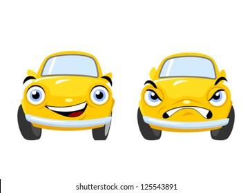 Yellow funny cartoon cars