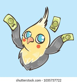 yellow funny parrot who loves money
