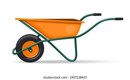 Yellow garden wheelbarrow with green handles. Vector icon isolated on white