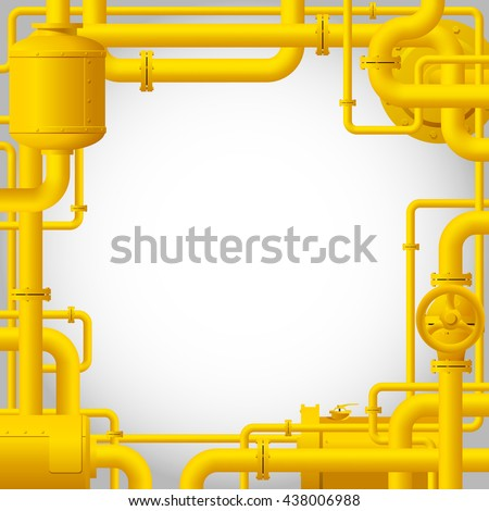 Yellow Gas Pipes Industrial Frame Background Stock Vector (Royalty ...