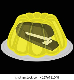 yellow gelatin with a stapler inside. Stapler in Jello. The Office Jello