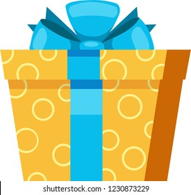 Yellow gift box with circle texture and blue bowknot