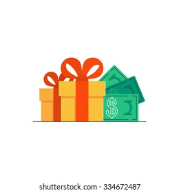 Yellow gift boxes with red ribbon, bonus money, earn points, loyalty program, win prize, cash back for purchase, birthday present, vector flat icon