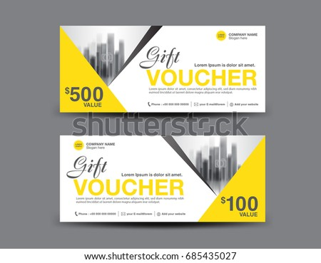 Yellow gift voucher template layout business stock vector royalty yellow gift voucher template layout business flyer design polygon background coupon ticket accmission Image collections