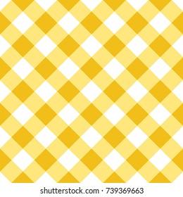 Yellow Gingham Tablecloth Seamless Diagonal Pattern