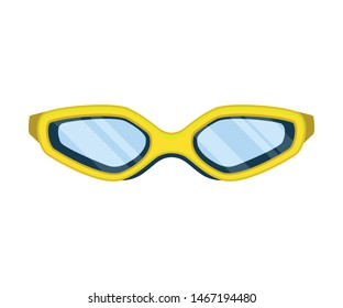 Yellow glasses for swimming. Vector illustration on white background.