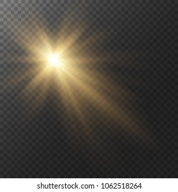 Yellow glow light effect. Star burst with sparkles. Sun with rays and glow on transparent background. Vector illustration