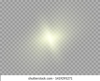 Yellow glowing light burst explosion transparent. Vector illustration for cool effect decoration with ray sparkles. Bright star. Transparent shine gradient glitter, bright flare. Glare texture.