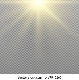 Yellow glowing light burst explosion on transparent background. Vector illustration light effect decoration with ray. Bright star. Translucent shine sun, bright flare. Center vibrant flash