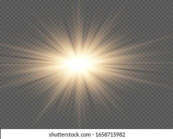 Yellow glowing light burst explosion with transparent. Vector illustration for cool effect decoration with ray sparkles. Bright star. Transparent shine gradient glitter, bright flare. Glare texture.