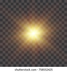 The yellow glowing light explodes with a blast with a transparent one. Vector illustration for perfect effect with sparkles. Bright Star. Transparent shine of the gloss gradient, bright flash. Texture