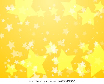 Yellow glowing stars abstract vector background. Gold five rays stars luxury sunburst banner backdrop.