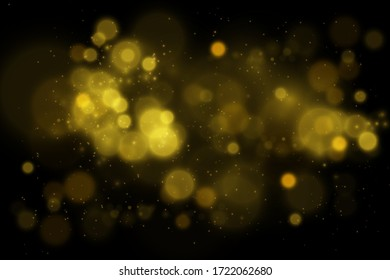 Yellow Gold Bokeh Light Background , beautiful background with abstract colorful light , Elegance bokeh