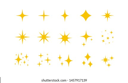 Yellow, gold, orange sparkles symbols vector. The set of original vector stars sparkle icon. Bright firework, decoration twinkle, shiny flash. Glowing light effect stars and bursts collection. Vector