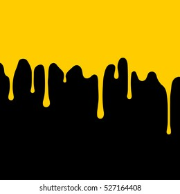 yellow, gold paint dripping. abstract blob. Black background.