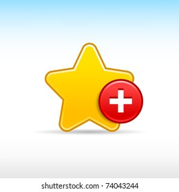 Yellow gold star favorite web 2.0 icon with red button plus and shadow on white