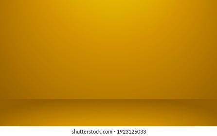 Yellow Golden Empty Room Studio Background Vector Illustration