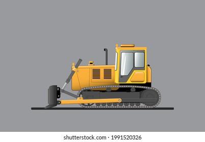Yellow goose bulldozer. Construction machinery. Flat vector illustration.