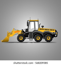 Yellow grader bulldozer  isolated illustration for banner internet poster etc flatten isolated illustration vector