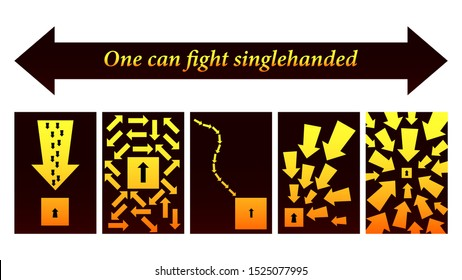 Yellow grafic arrows. One can fight singlehanded. A few arrows against one of the arrows in different ways. Flat design vector illustration.
