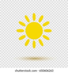 Yellow graphic sun icon isolated on transparent background. Vector flat sunshine symbol template. Sun silhouette illustration