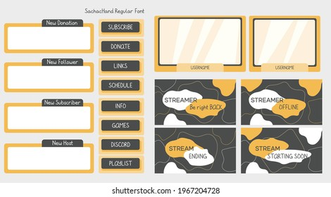 Yellow Gray twitch stream overlay with screen, panel, button elements. UI background for online cybersport player background and button