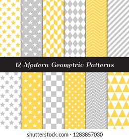 Yellow, Gray and White Geometric Vector Patterns. Pastel Color Herringbone, Harlequin, Triangles, Chevron, Dots, Checks, Stars & Stripes Print Backgrounds. Pattern Tile Swatches included.
