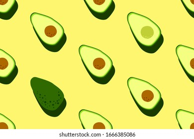 Yellow green avocado pattern. Seamless food vegetable background. Bright kitchen, home decor or healthy eating design. Cartoon flat design. Vector illustration.