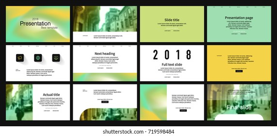 Yellow and Green elements on a white background. This template is the best as a business presentation, used in marketing and advertising, the annual report, flyer and banner