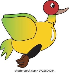 Yellow and Green Flying Duck Logo