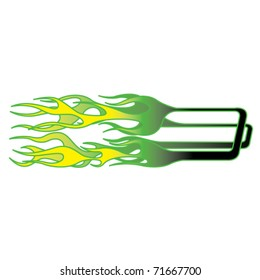 Yellow and green hot rod style flames with pin striping.