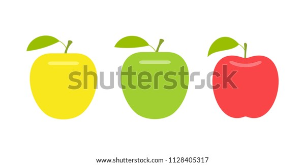 Yellow, green and red apple. flat style. isolated on white background