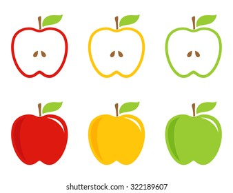 Yellow, green and red stylized apples. Apple whole and half in bright colors. Vector logotype, icon, sign.