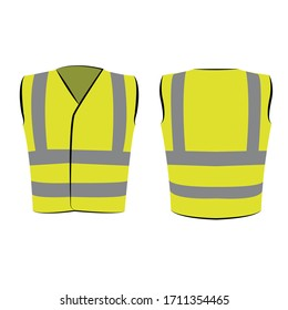 gelbe grüne reflektierende Sicherheitsweste für Kinder einzeln auf Vektorfront und Rückseite zur Förderung auf weißem Hintergrund