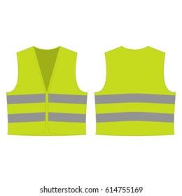 gelbe grüne reflektierende Sicherheitsweste für Menschen einzeln auf Vektorvorderseite und Rückseite zur Förderung auf weißem Hintergrund