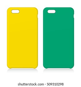 Yellow and Green smartphone cases isolated on white. Vector illustration