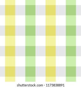 Yellow and Green Tablecloth Seamless Pattern. Two Color Gingham Design