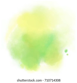 yellow green watercolor splash vector painted water color background