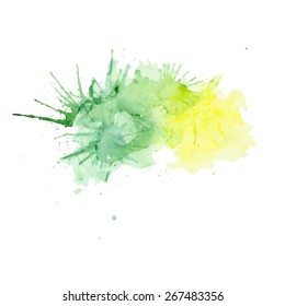 Yellow and green watercolor splashes vector
