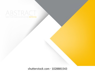 Yellow and grey earth tone vector background triangle geometric overlap layer on white paper space for text and background design