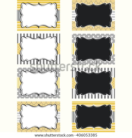 Yellow Grey Printable Labels Tags Photo Frame Gift Stock Vector
