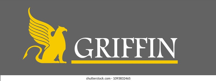 yellow Griffin logo with label, isolated on grey background.